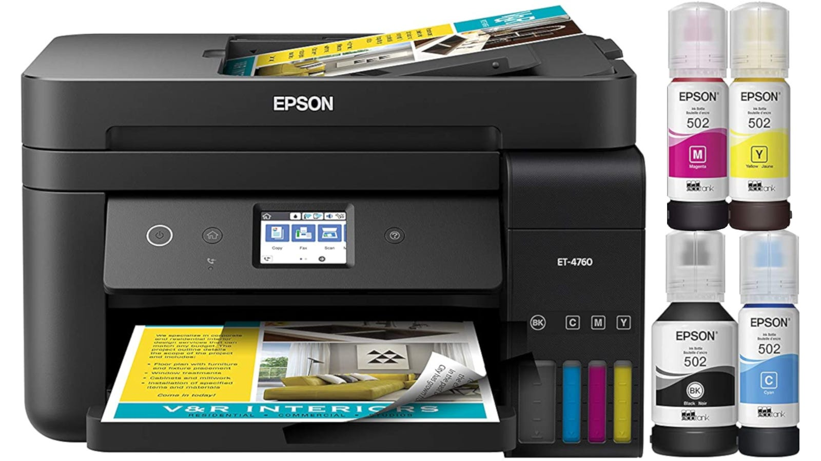 Black all-in-one printer with fax, touch screen, and cartridge-free ink system