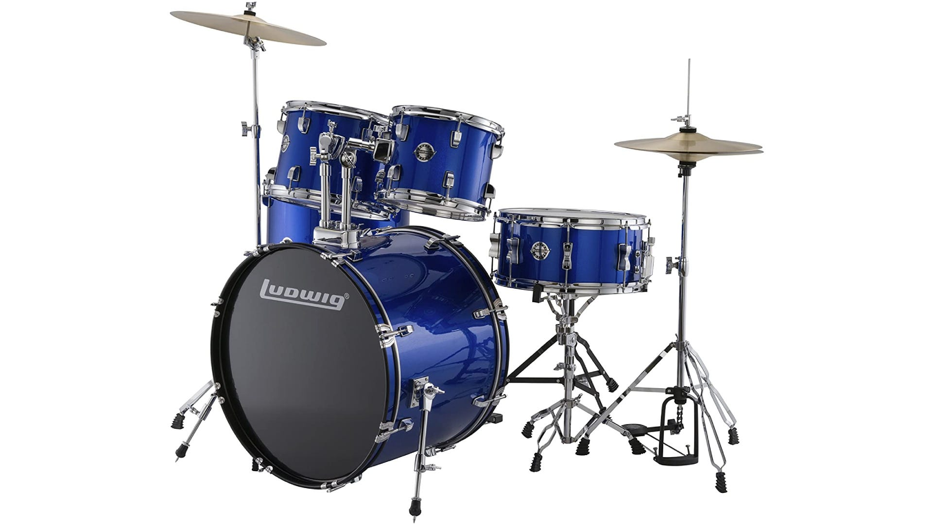 blue-colored drum set with bass drum, snare, two mounted toms, floor tom, hi-hat, and crash cymbal.