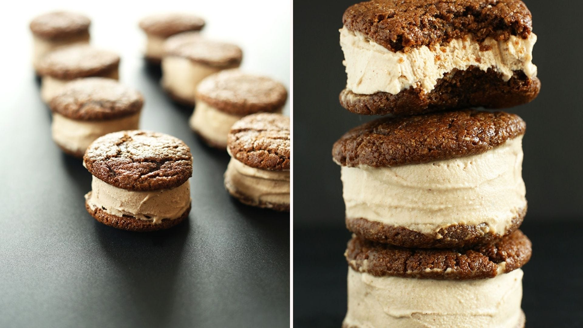 Several ginger ice cream sandwiches lined up; three sandwiches stacked with a bite out of the top one