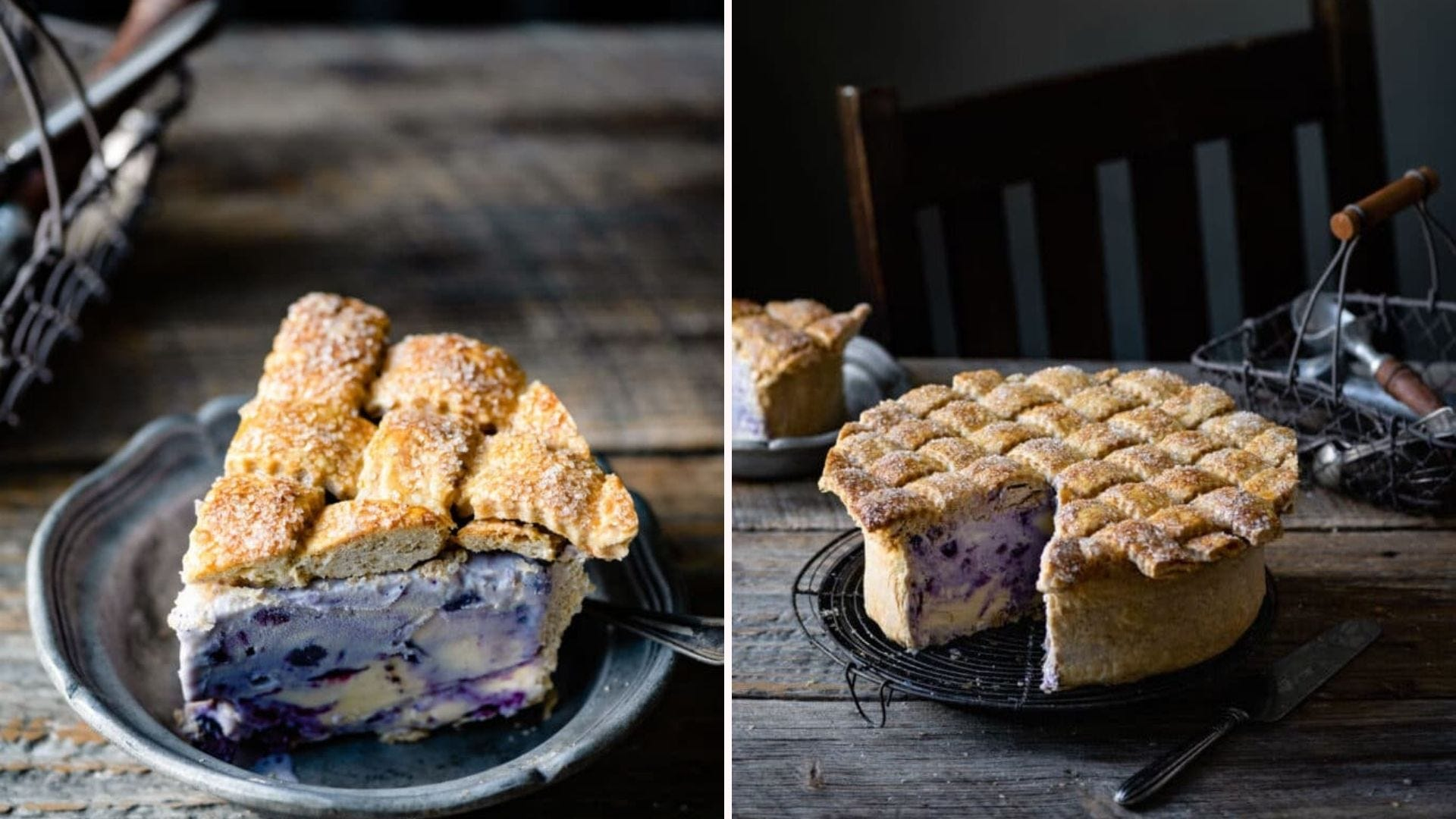 """A slice of """"pie"""" with a blueberry ice cream filling; the whole pie with a slice cut out"""