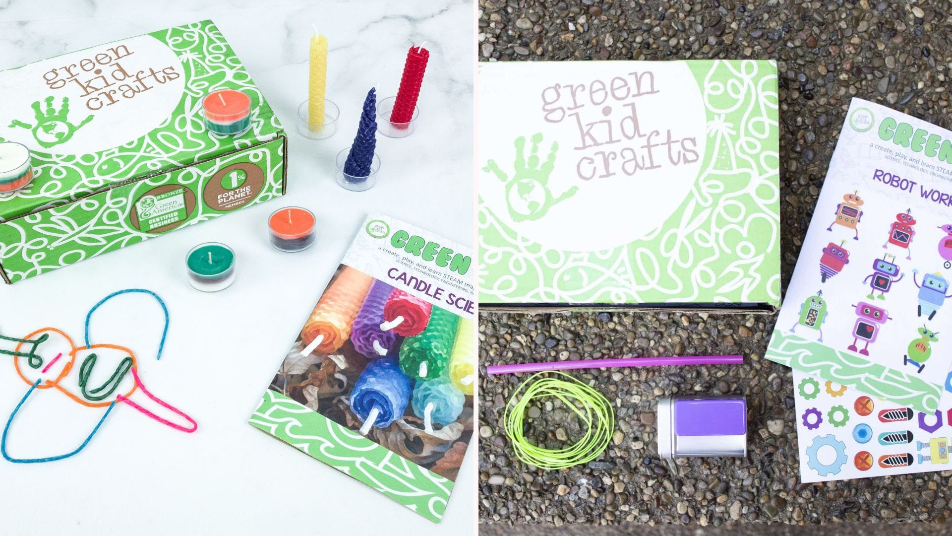 Two green boxes with colorful supplies and instruction cards