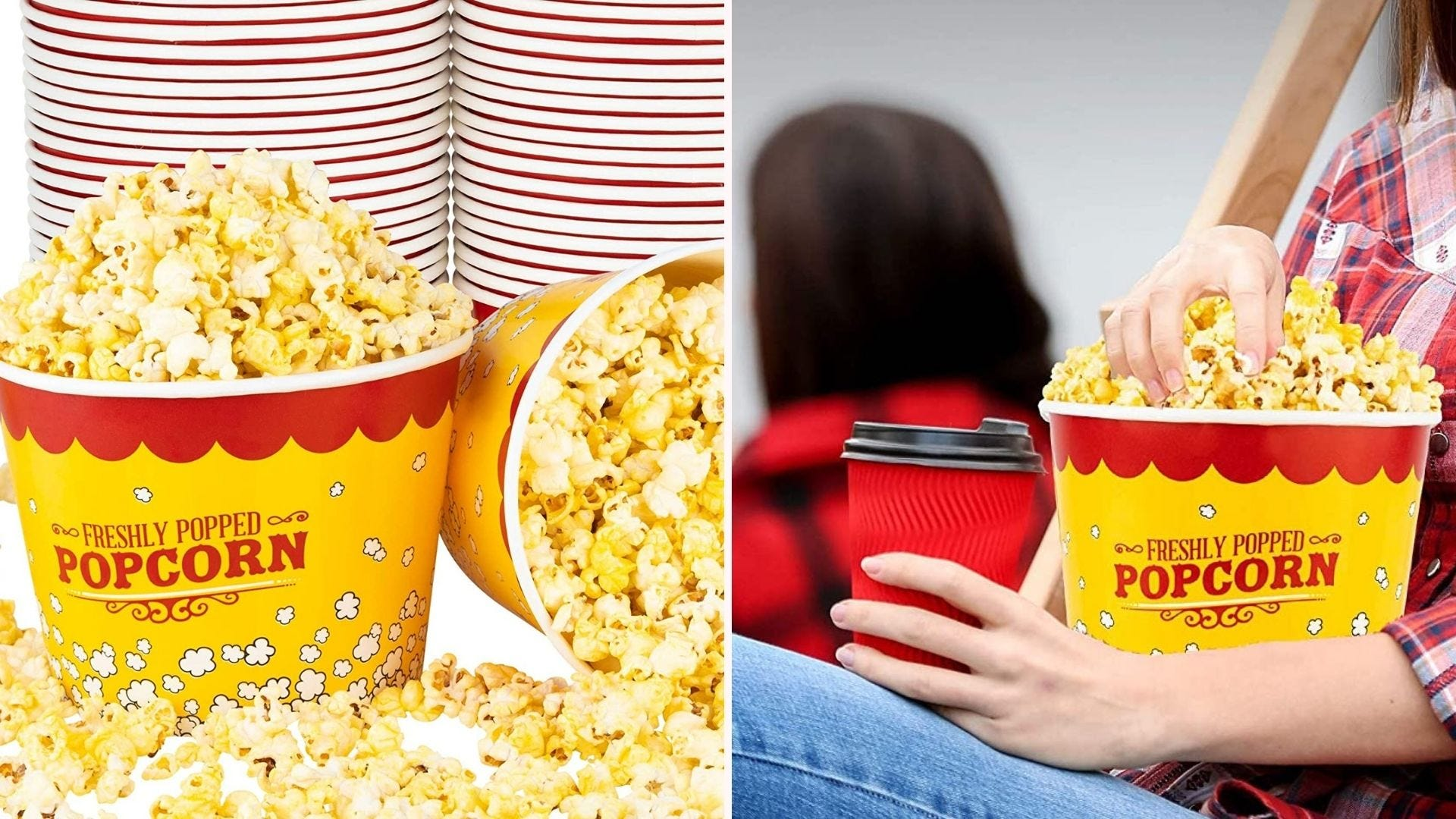 A stack of popcorn buckets; a yellow popcorn bucket held by a woman wearing jeans