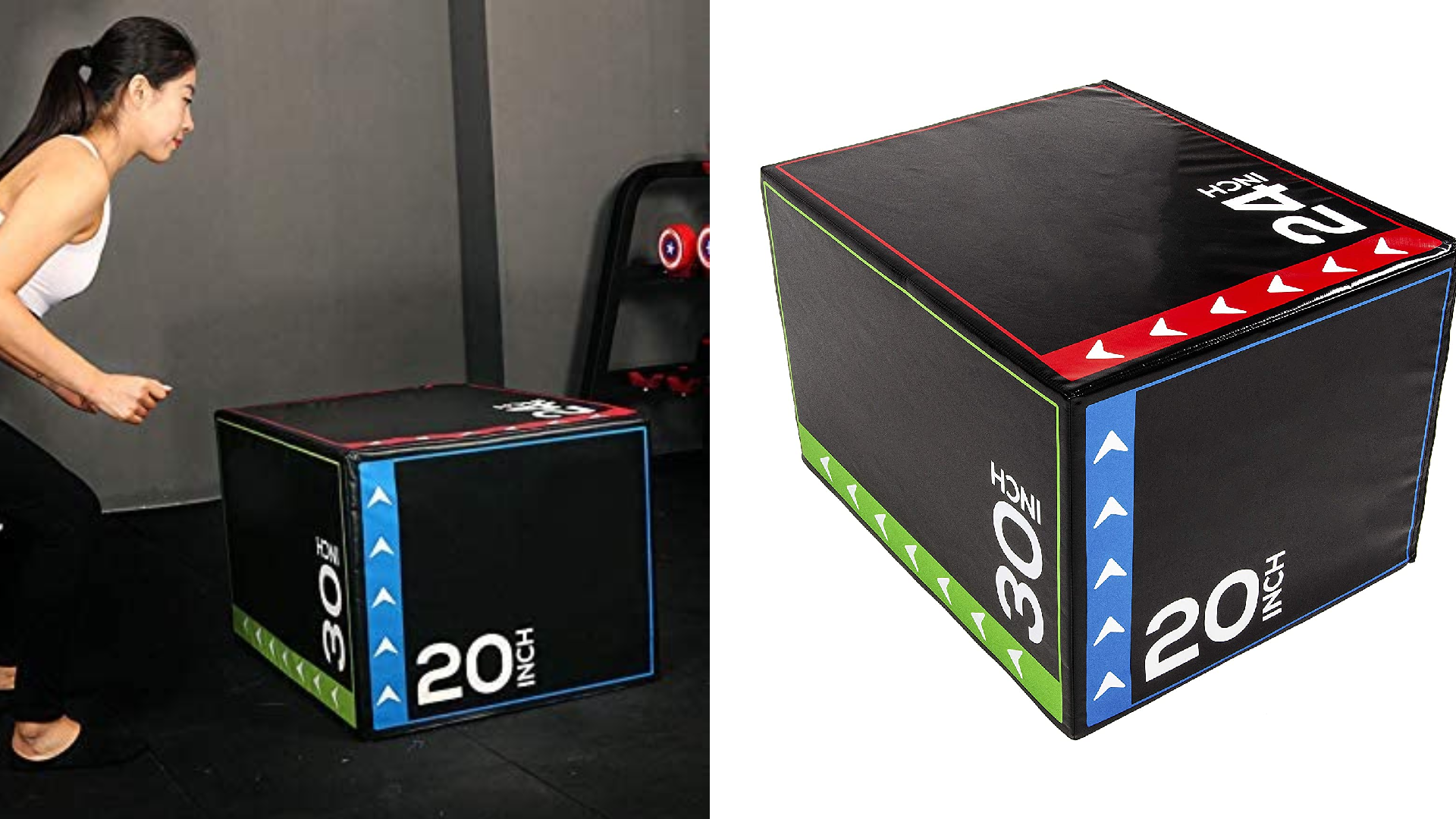On the left, a woman stands before a black plyometric box in a gym. On the right, the same box on a white background.