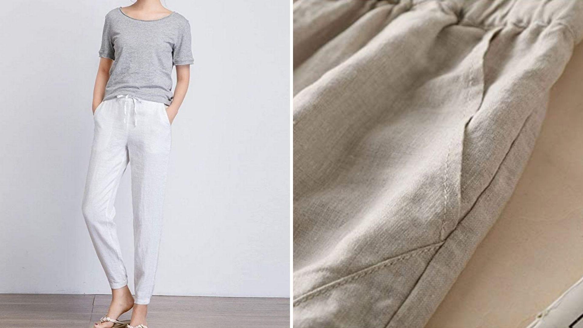 A woman wears white linen pants and a close up shot of tan linen pants