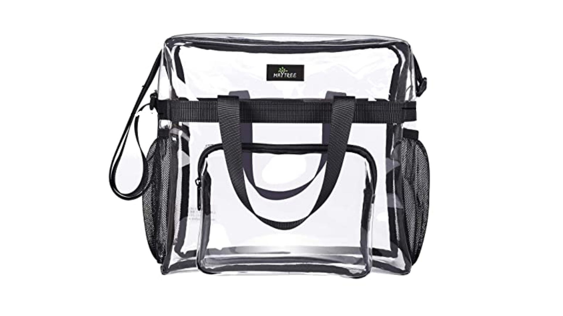 clear multi-pocket tote sized bag with black accents and straps