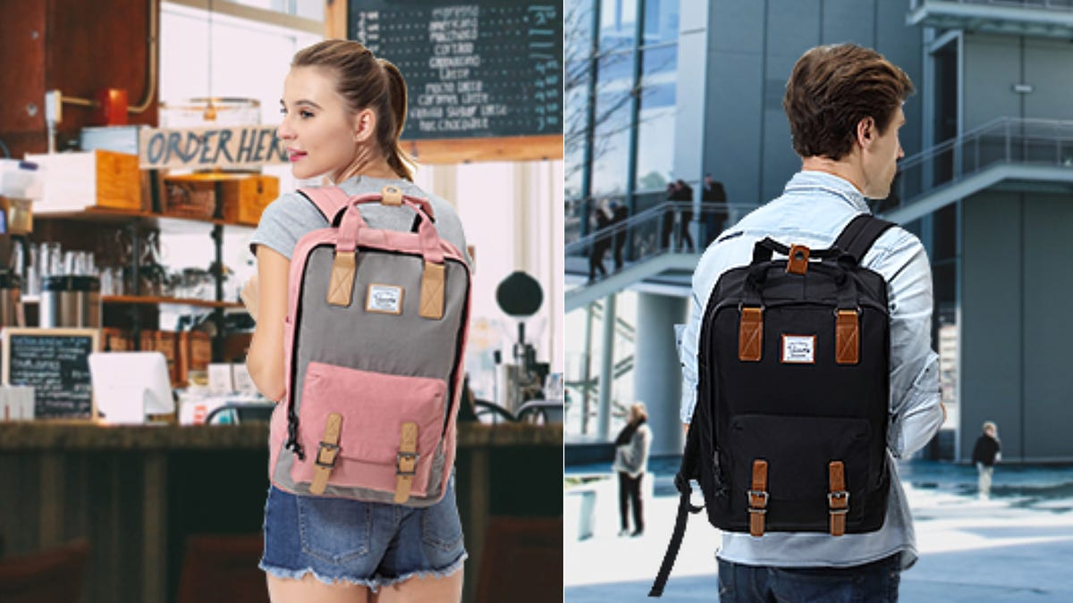 On the left, a teenage girl wearing a pink and grey backpack in a coffee shop. On the right, a teenage boy wearing a black backpack.