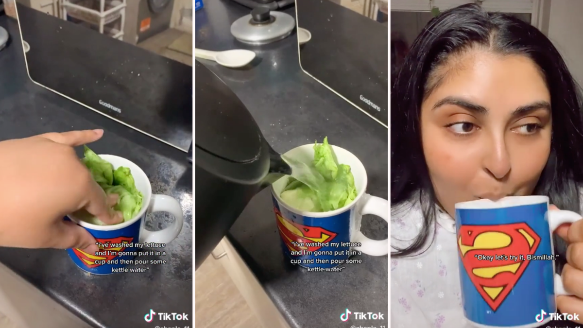 A woman putting lettuce in a mug, pouring water over it, and then drinking it.
