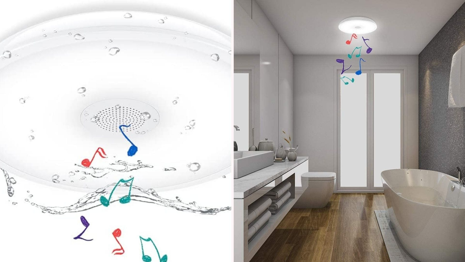 ceiling-mounted white light showing it is waterproof and plays music; it's shown in a bathroom