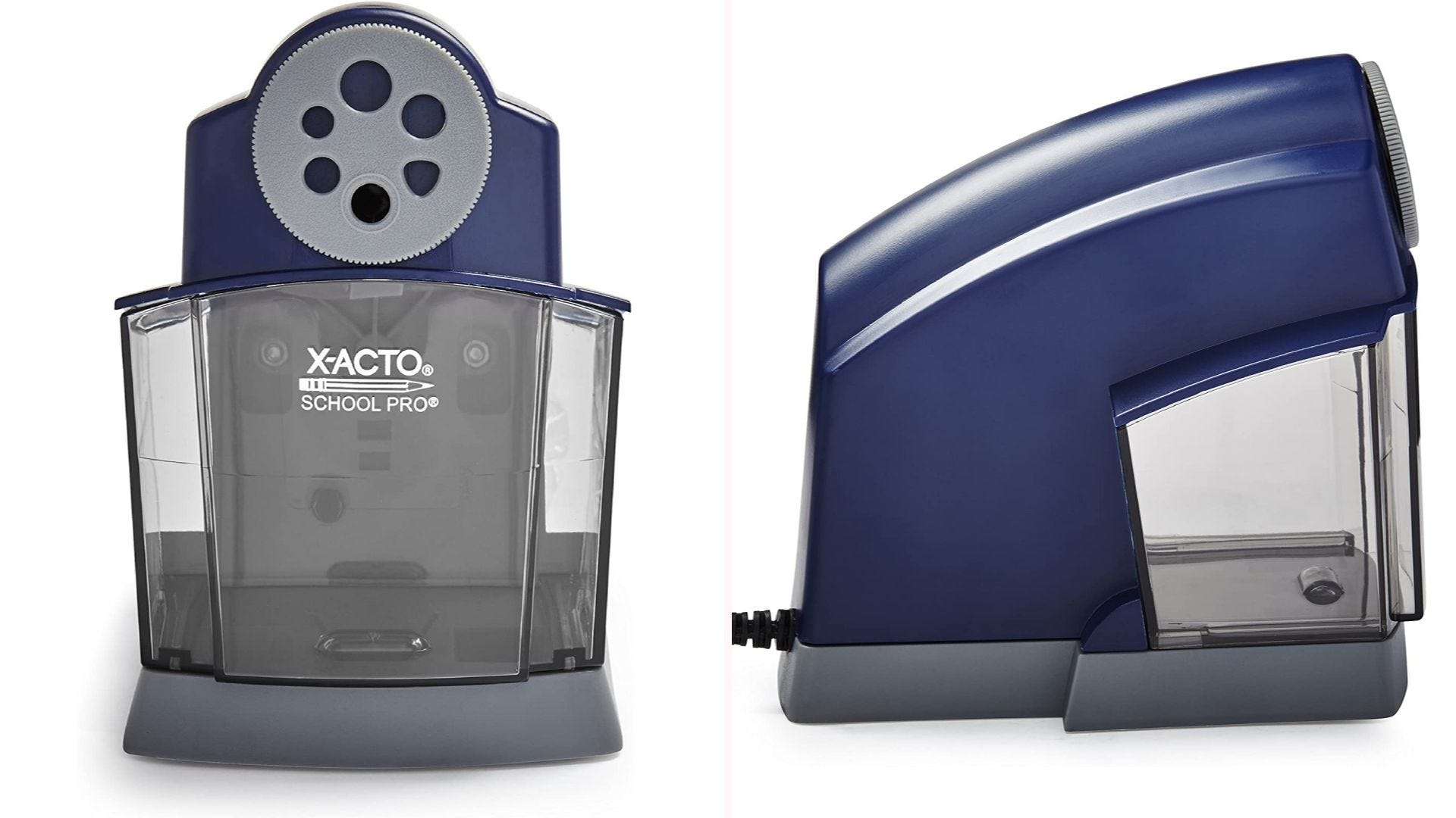 A front and side view of a blue electric sharpener with a size dial and large shaving compartment.