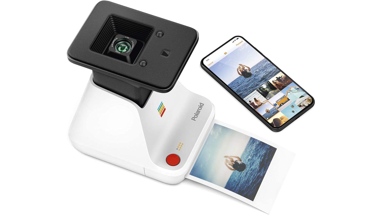 White and black Polaroid photo printer with smartphone compatibility