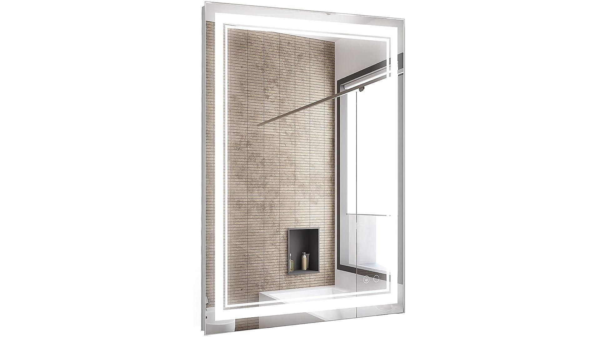 A pre-lit bathroom mirror showcasing a bathroom view.