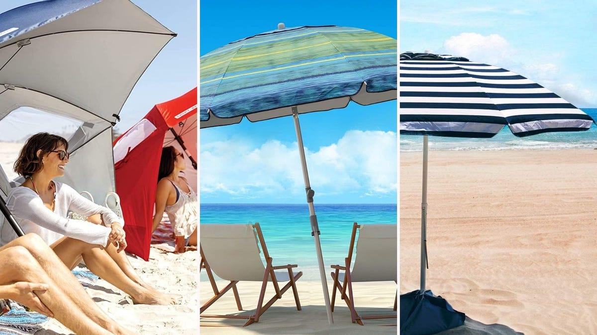 three different beach umbrellas on different beaches