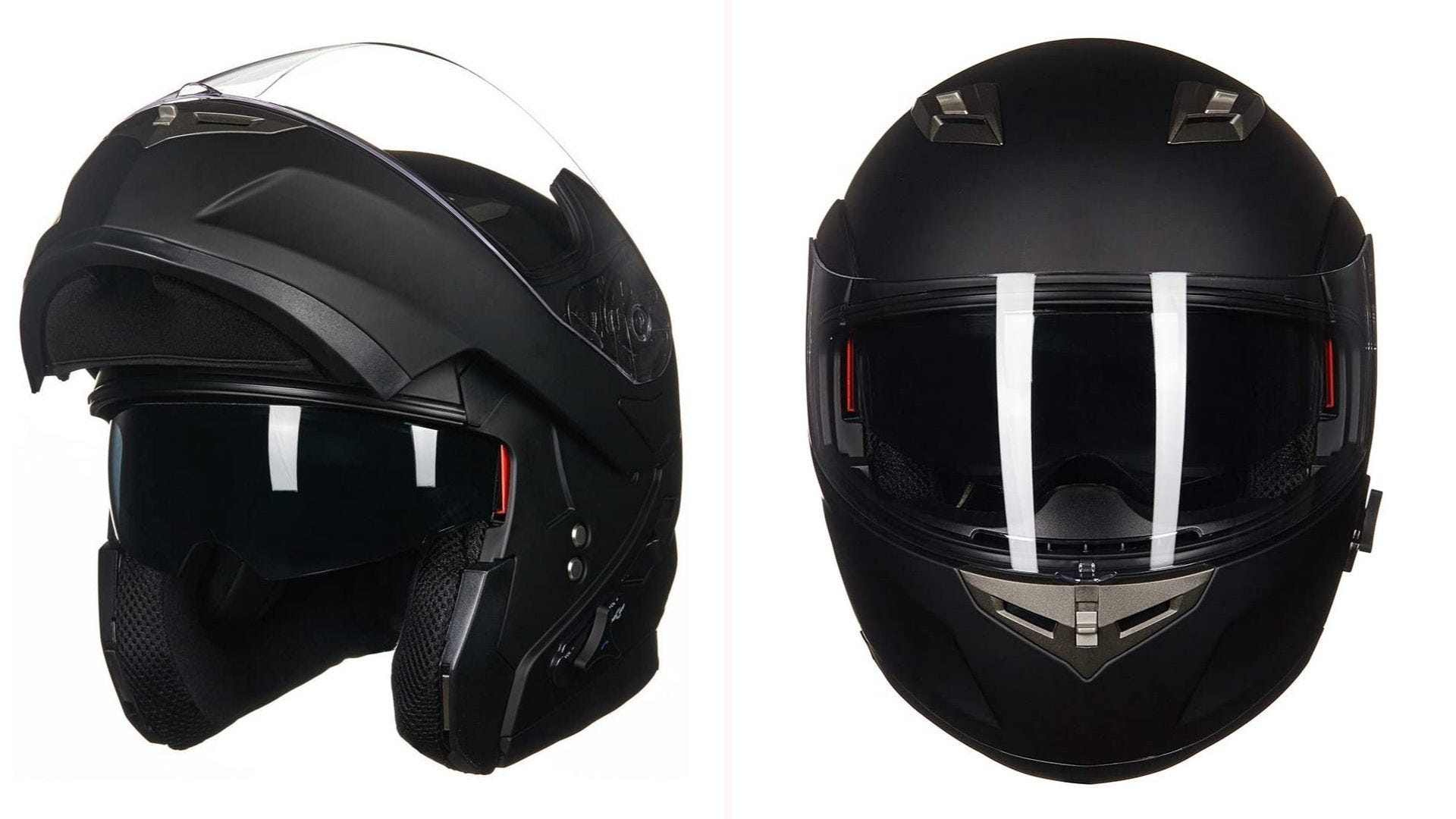 On the left, a matte black full-face helmet with a Blueetooth button on the side of the face and the face guard pulled up. On the right, a front view of the closed helmet.