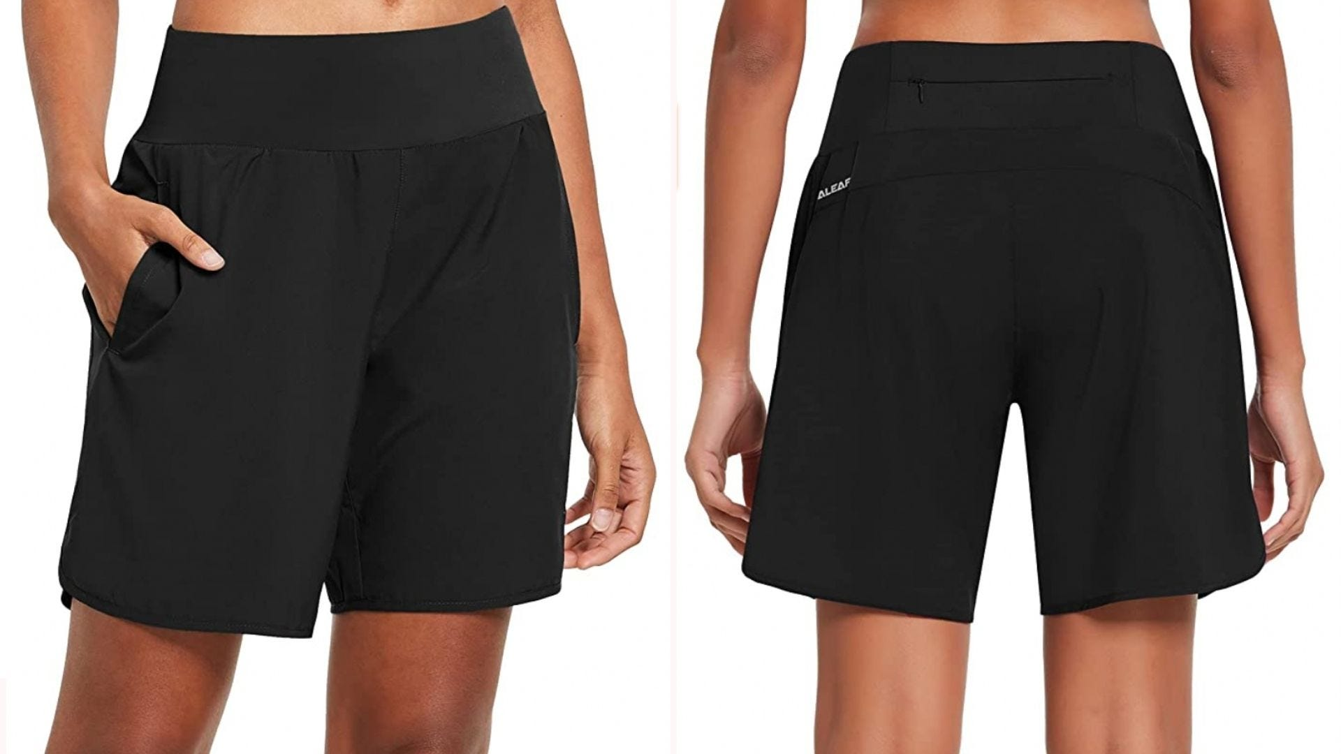 black pair of athletic shorts that come a little above the knee