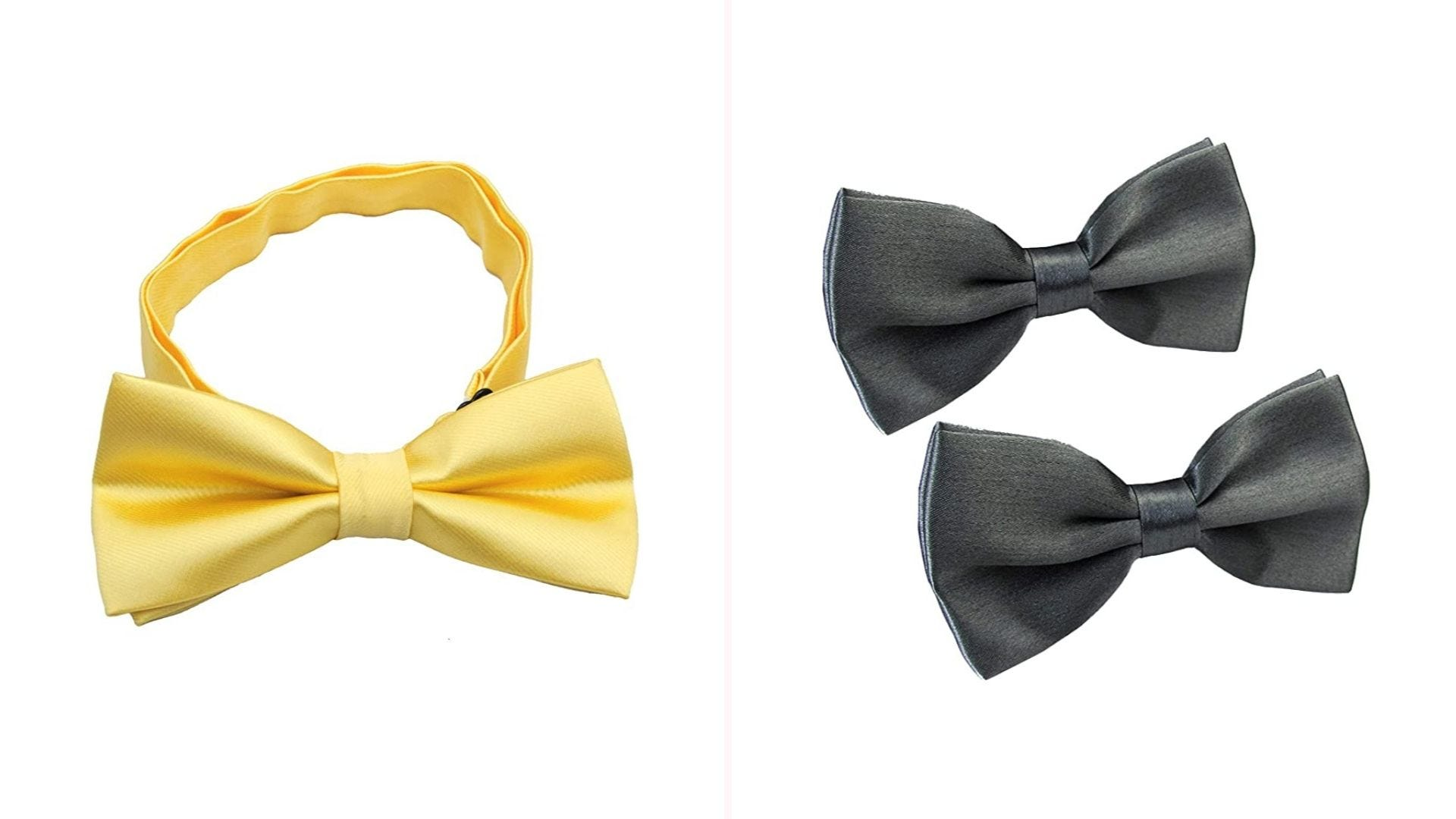 On the left, a light yellow bow tie with its neck strap. On the right, two grey bow ties.