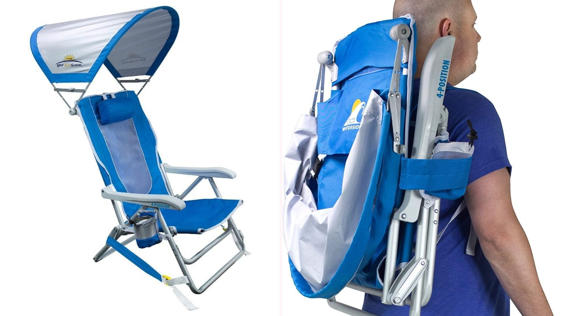 a blue and gray folding chair with a canopy; a man carries it on his back