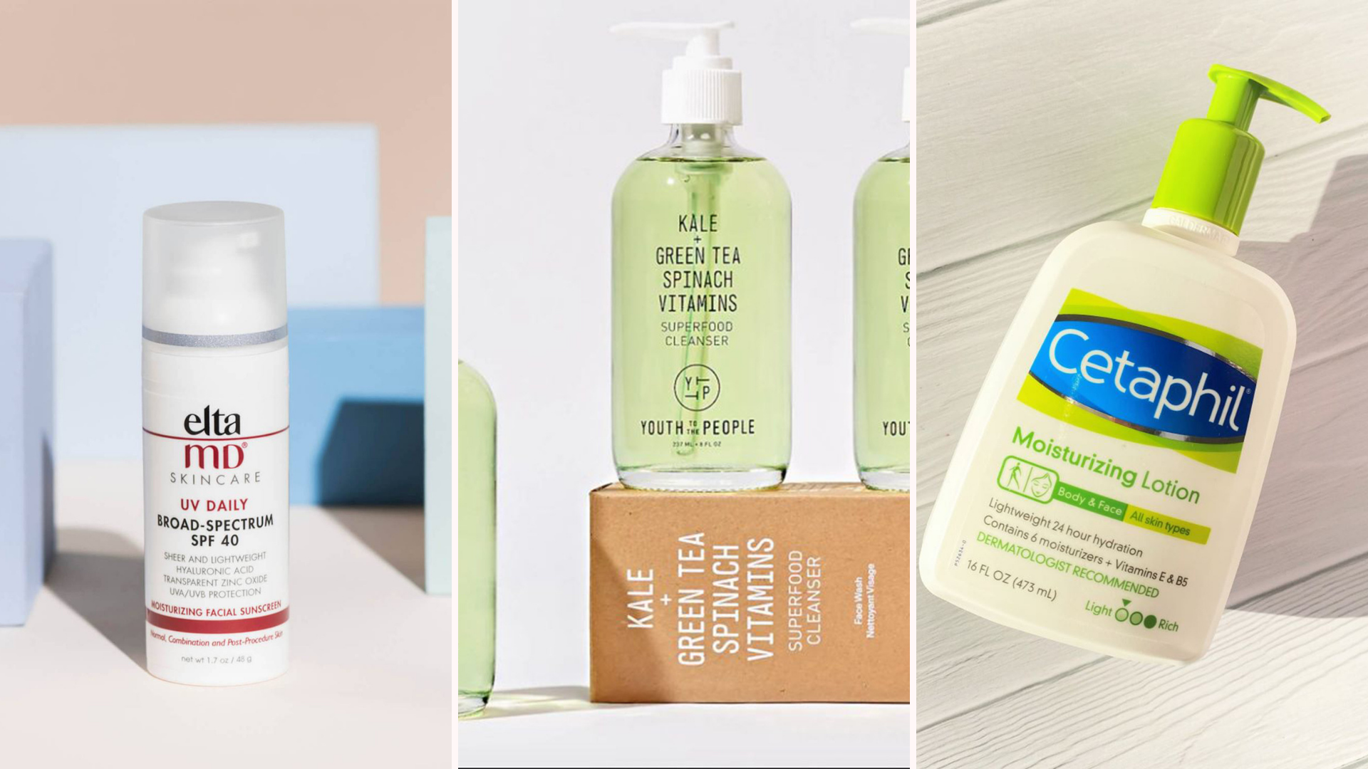 tri-fold header of skincare products with EltaMD sunscreen on the left, Youth to the People face wash in the middle, and Cetaphil moisturizer on the right.