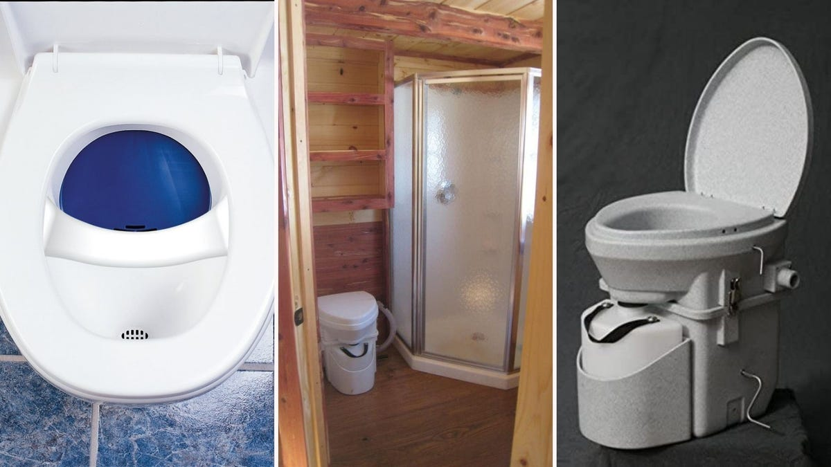three composting toilets on varying backgrounds