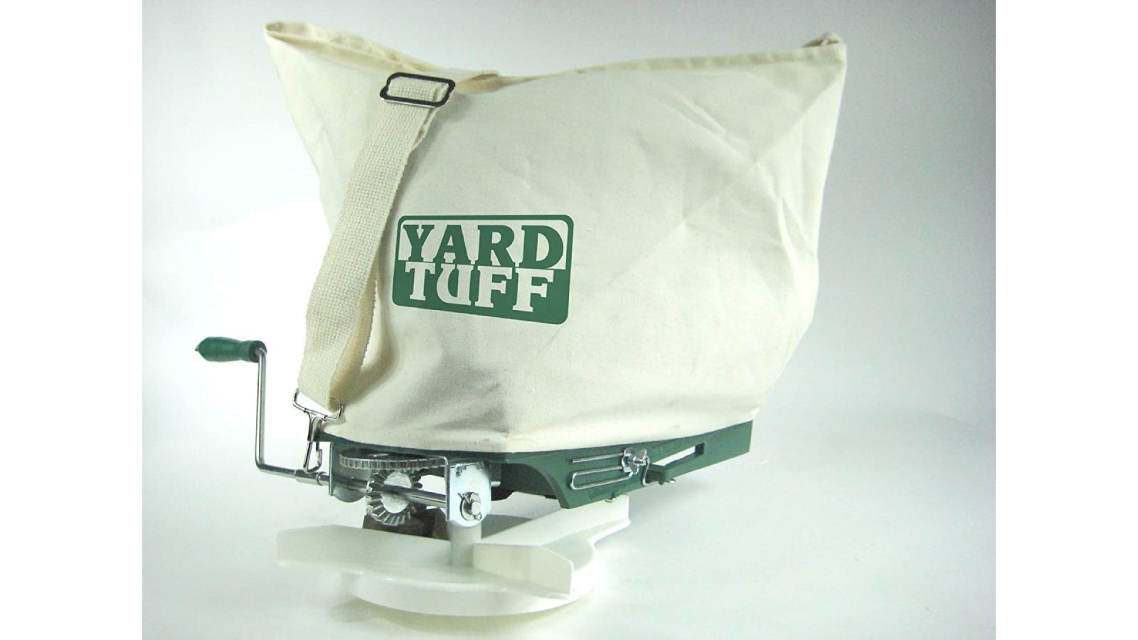 "Canvas shoulder seed spreader bag, ""Yard Tuff"" printed on front"