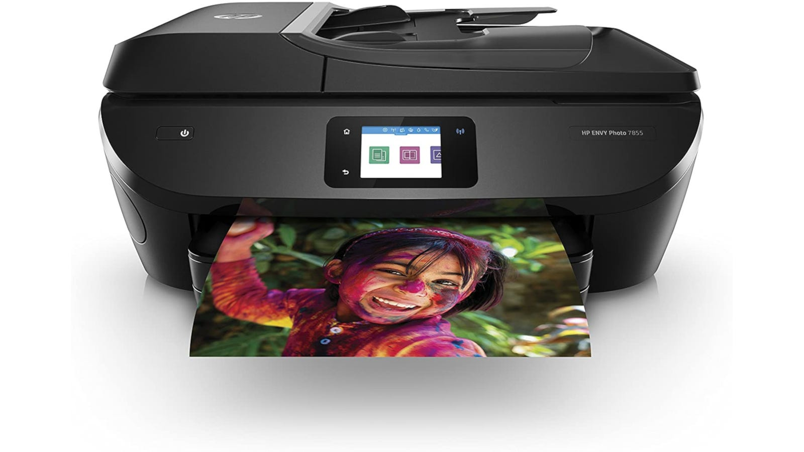 Large black photo printer with wireless printing, SD card slot, and auto document feeder