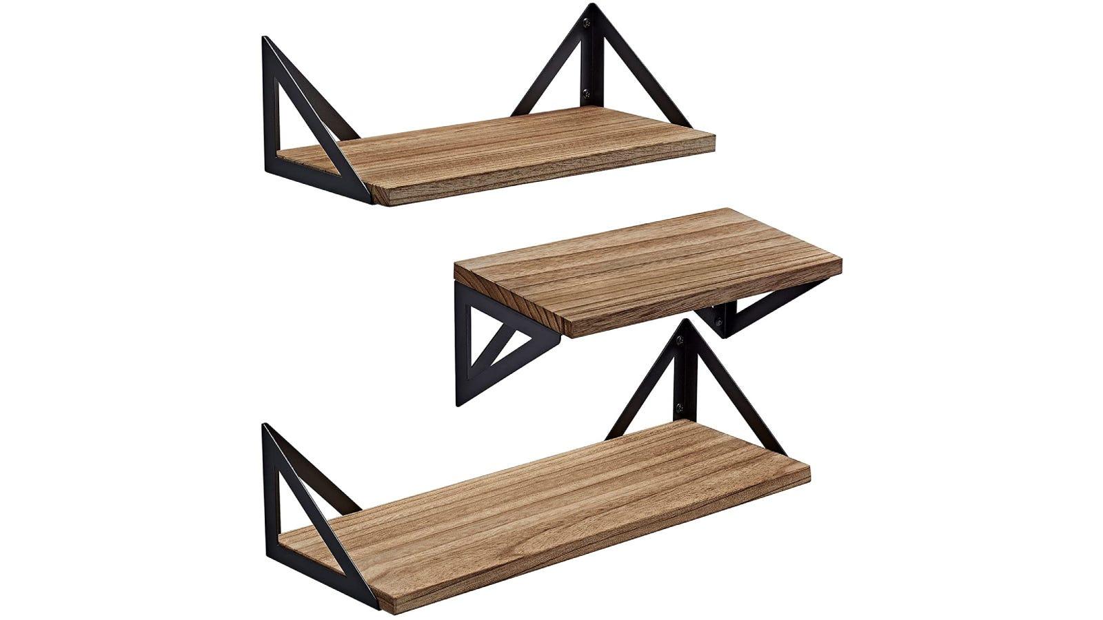 set of three natural wood and black metal shelves