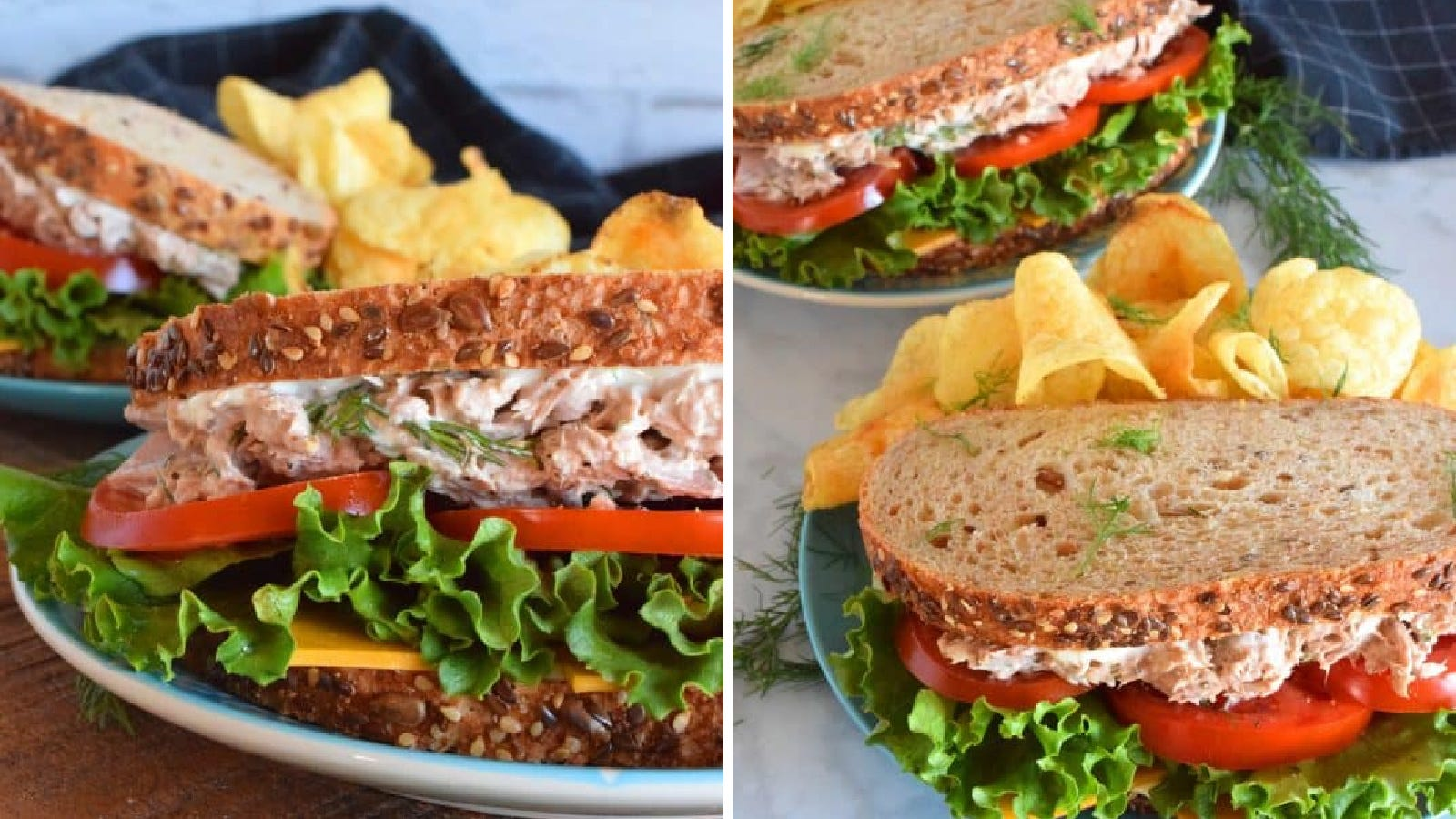 Two images displaying a dill pickled infused tuna sandwich filled with lettuce tomato and cheese with a side of chips.