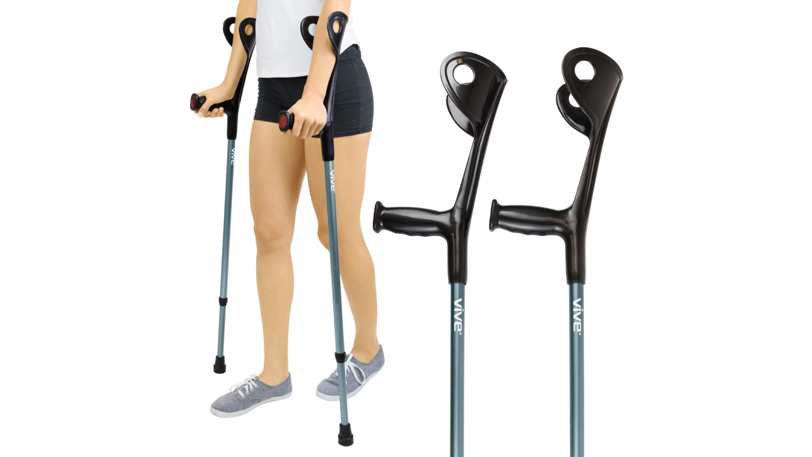 Woman using a pair of forearm crutches