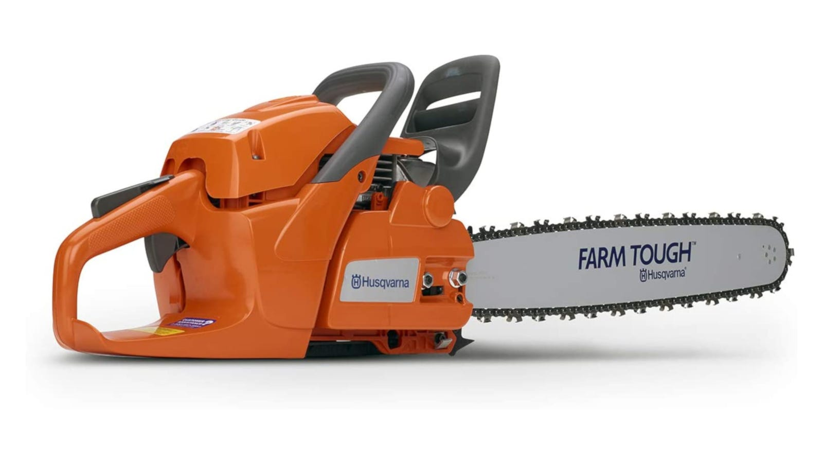 Orange gas chainsaw with 20-inch bar, 2-cycle engine, and side-mounted chain tensioning system