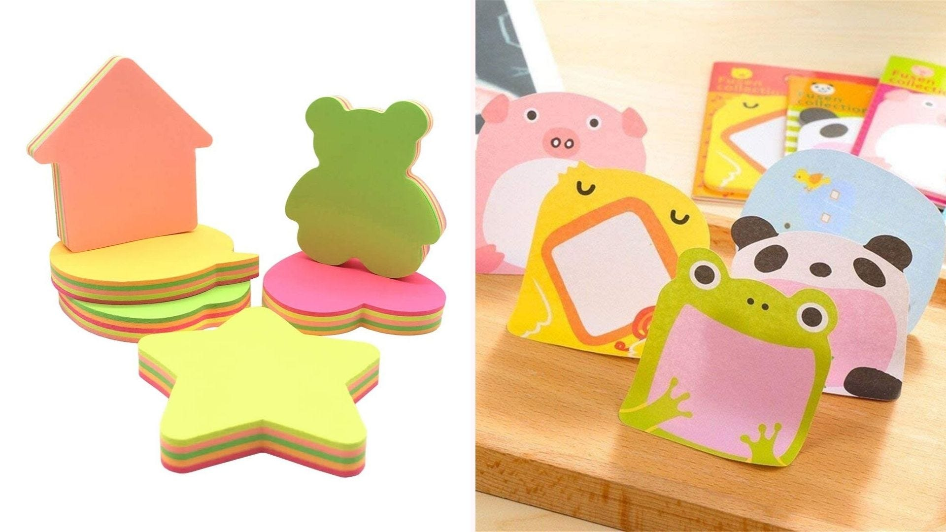 On the left, stacks of sticky note pads shaped like stars, bears, and houses. On the right, more notepads shaped and illustrated like animals.