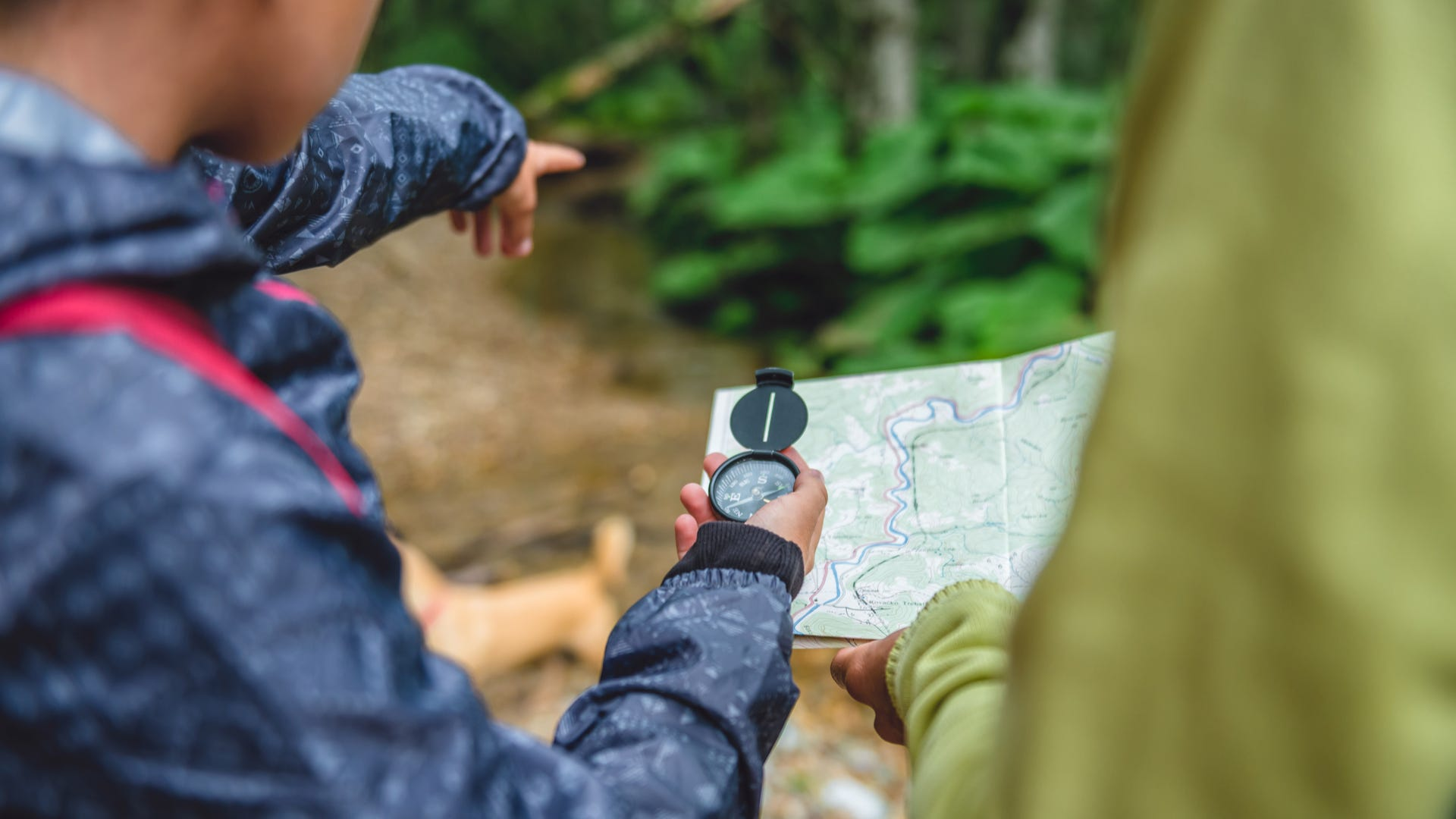 Two people look at a map and a compass out in the woods. One person points ahead.