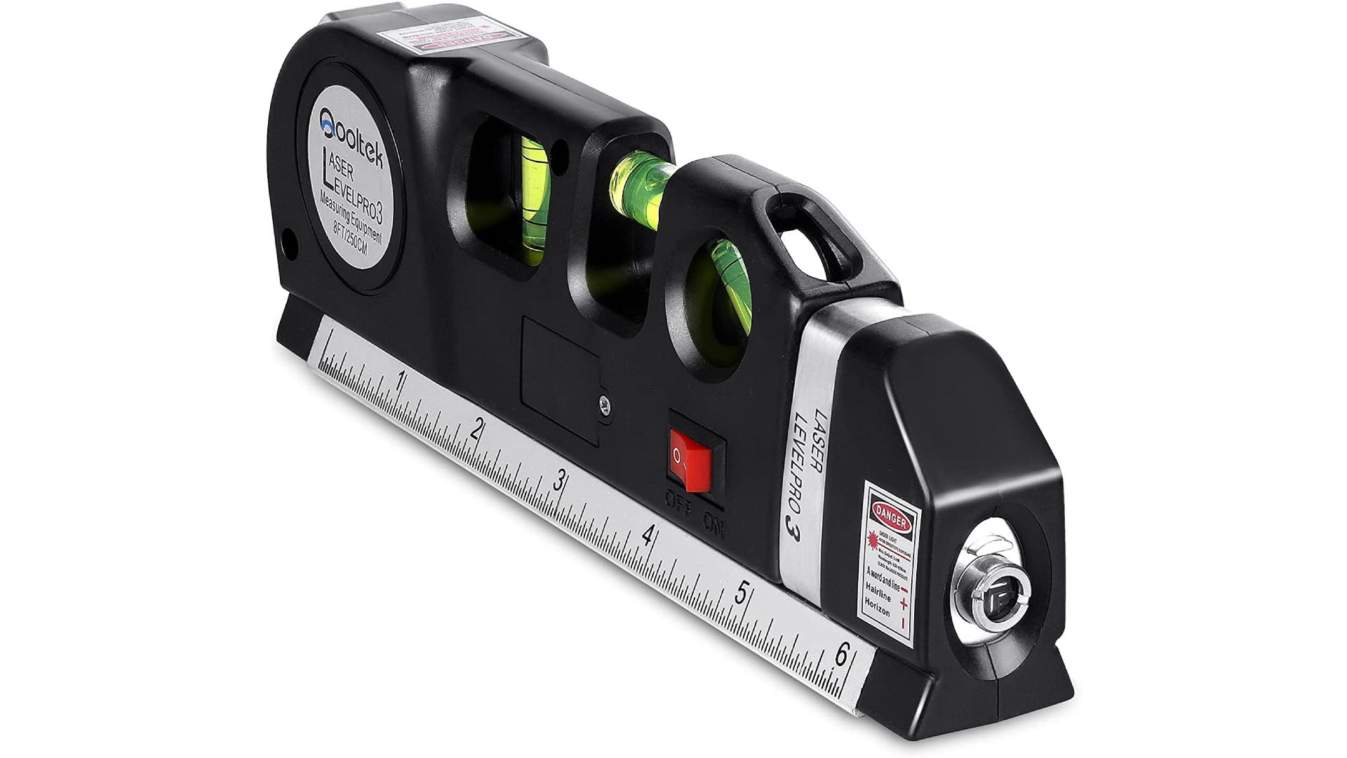 A black torpedo level with three bubble vials, tape measurer, and laser.