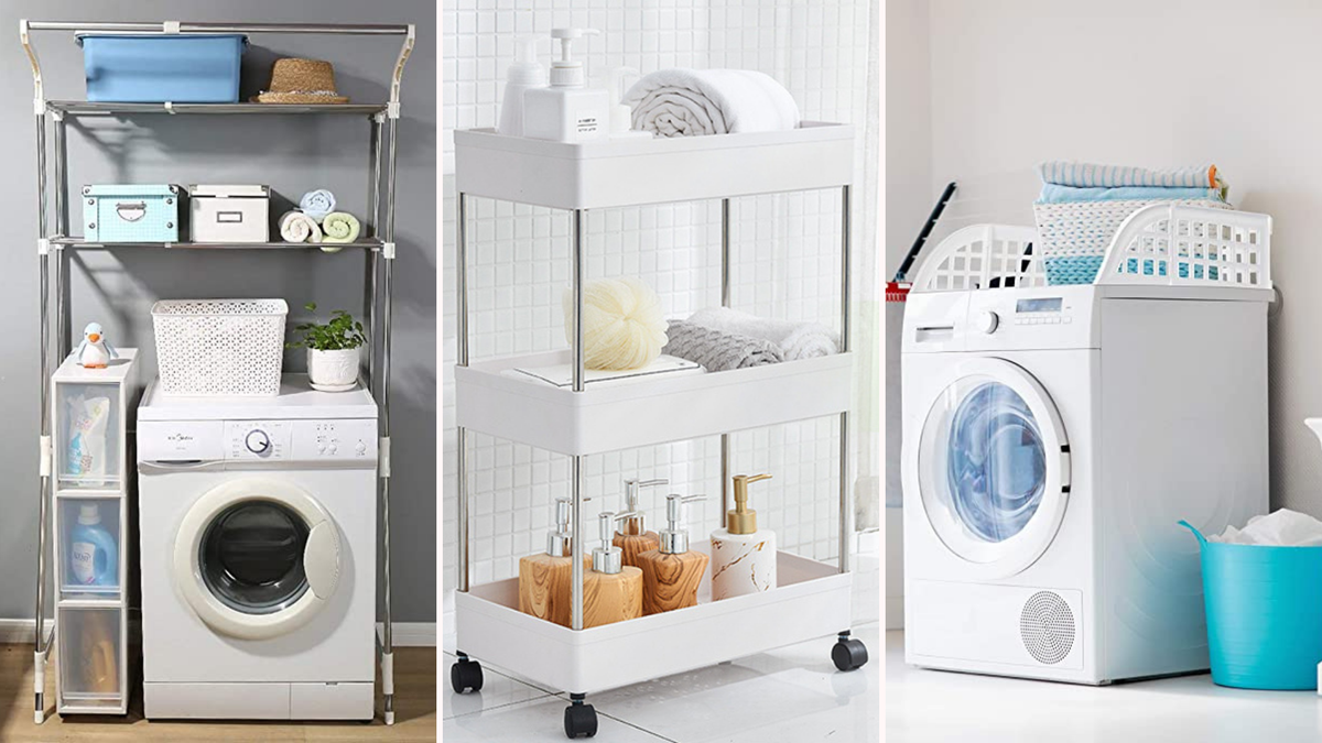 laundry room organized spaces featuring a wire rack, rolling shelves, and laundry guard