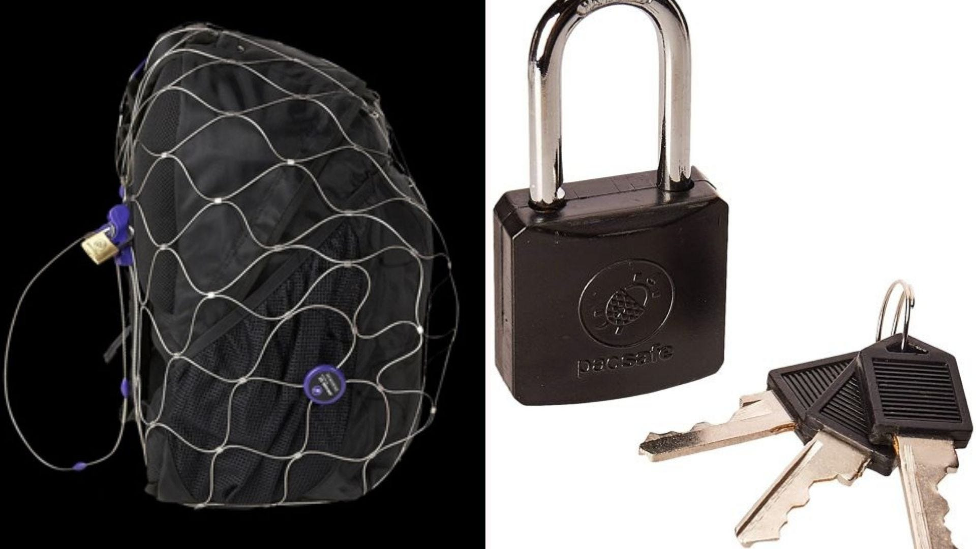 Pacsafe luggage protector on a backpack and the lock and keys.