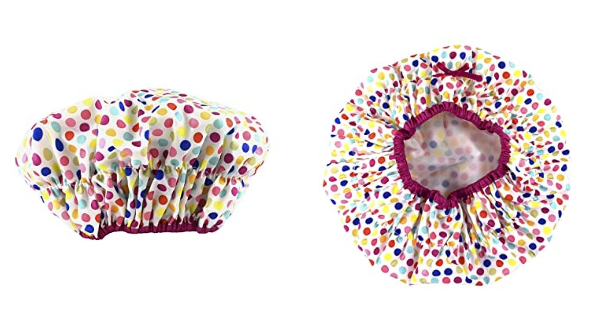 dual views side and elastic bottom colorful polka dot shower cap