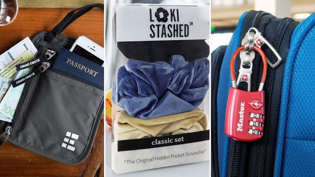 A neck wallet on a table, a pack of LOKISTASHED scrunchies, and a Master Lock luggage lock on a suitcase.