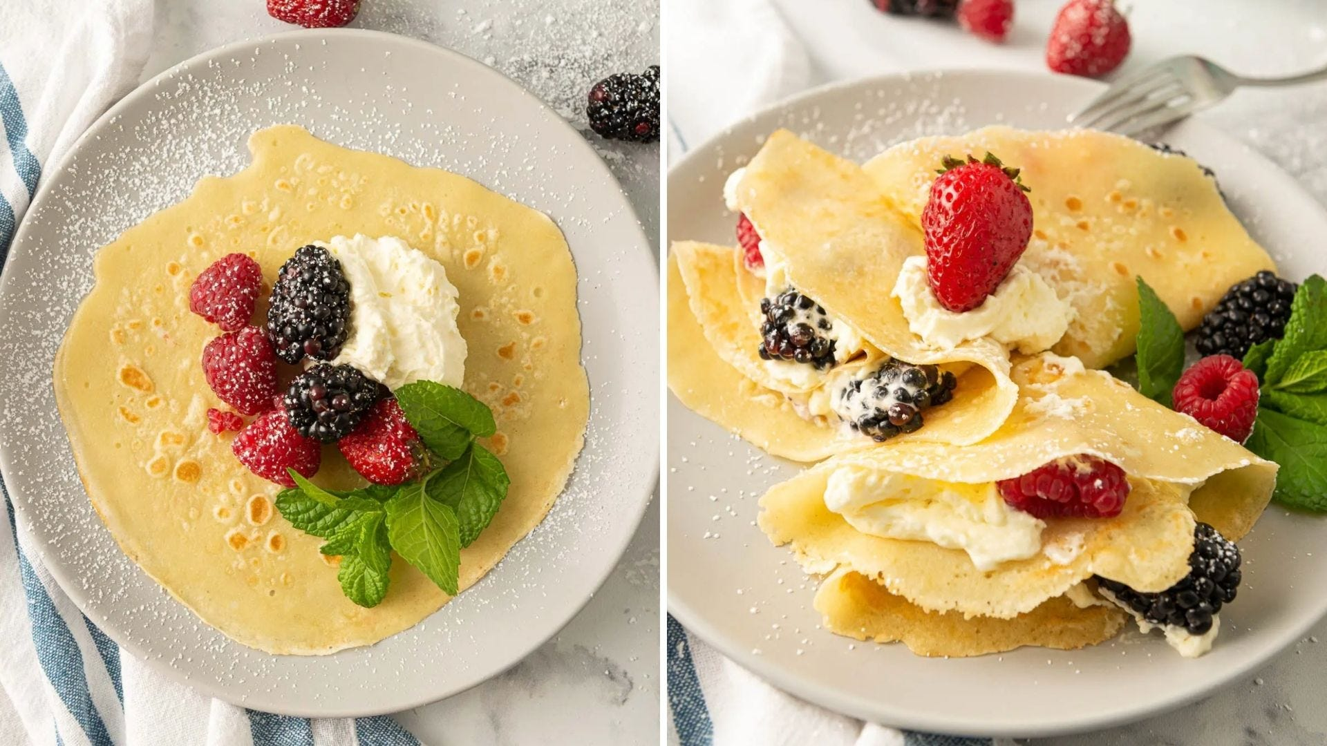 An open crepe with berries inside and several folded crepes