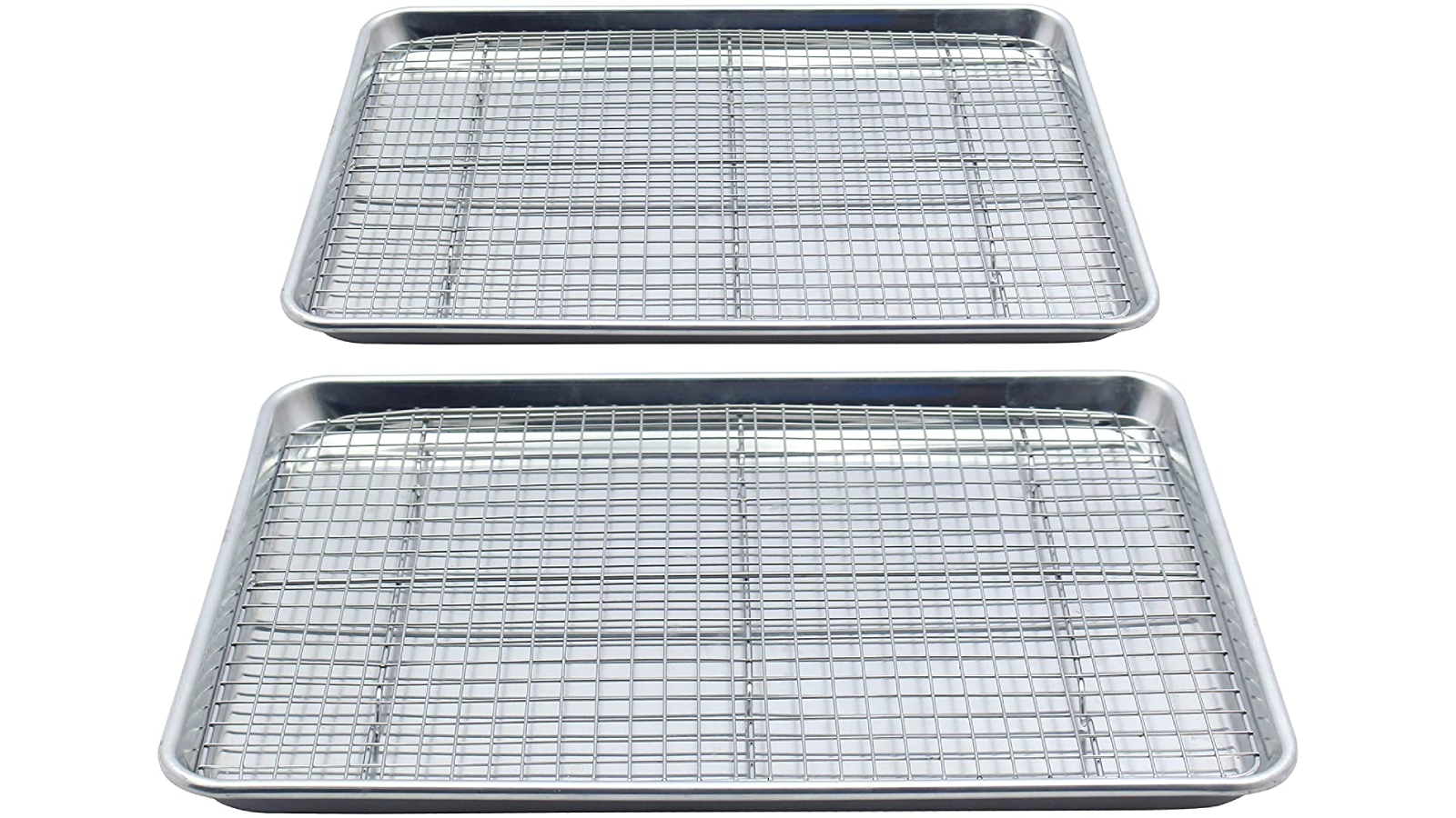Two aluminum baking sheets, each with a cooling rack.