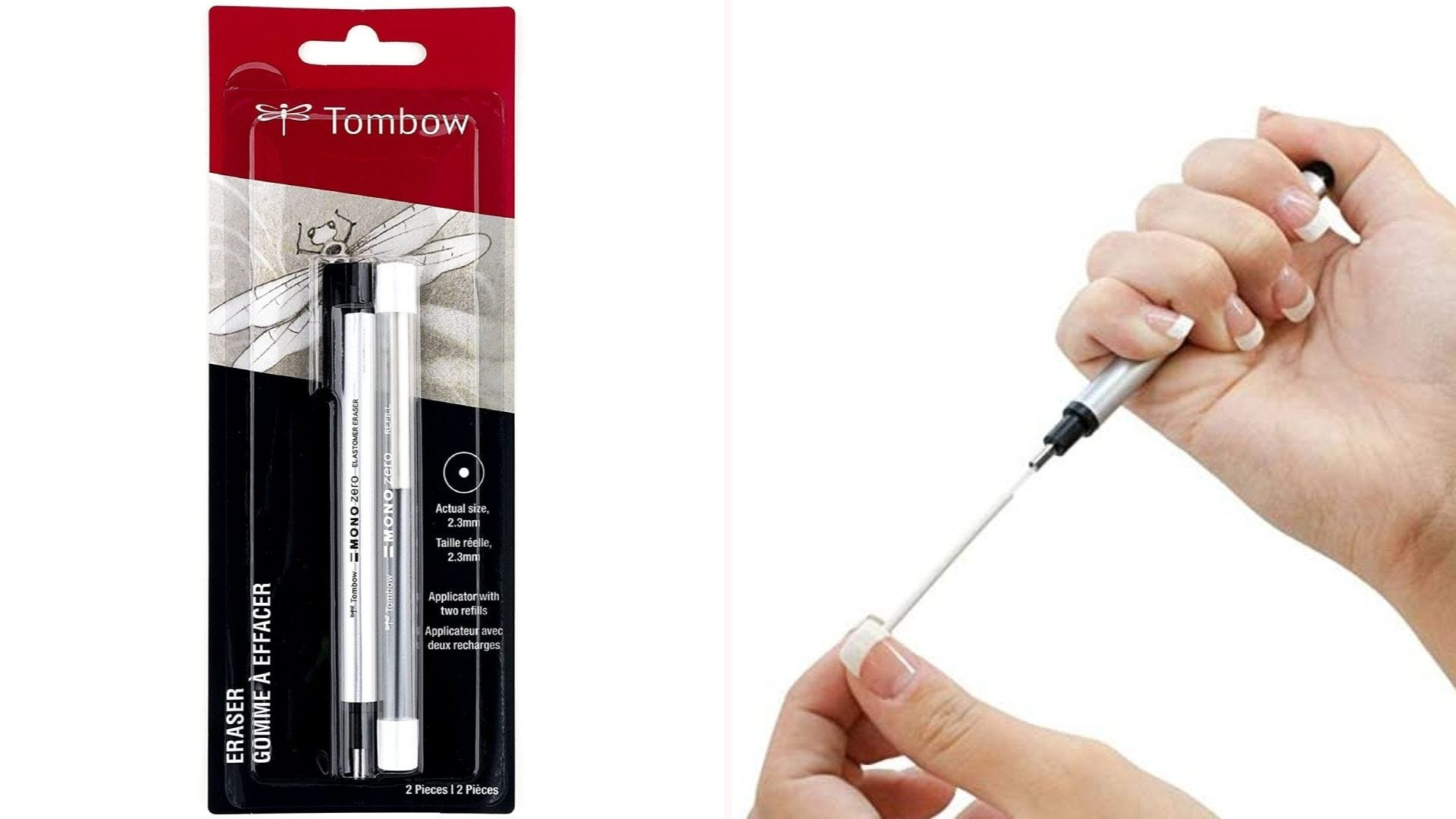 On the left, a pen-style eraser in its black and red packaging. On the right, a person refilling the tube with an eraser refill.