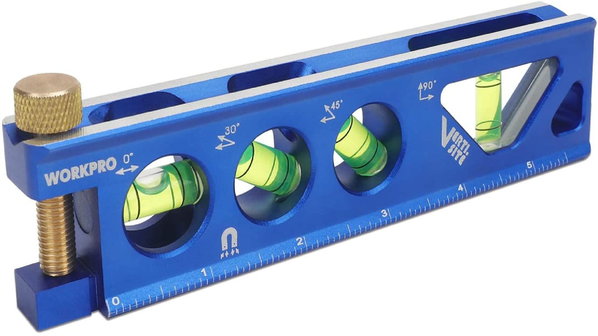 Blue torpedo level with four bubble vials and measurement increments along the bottom.