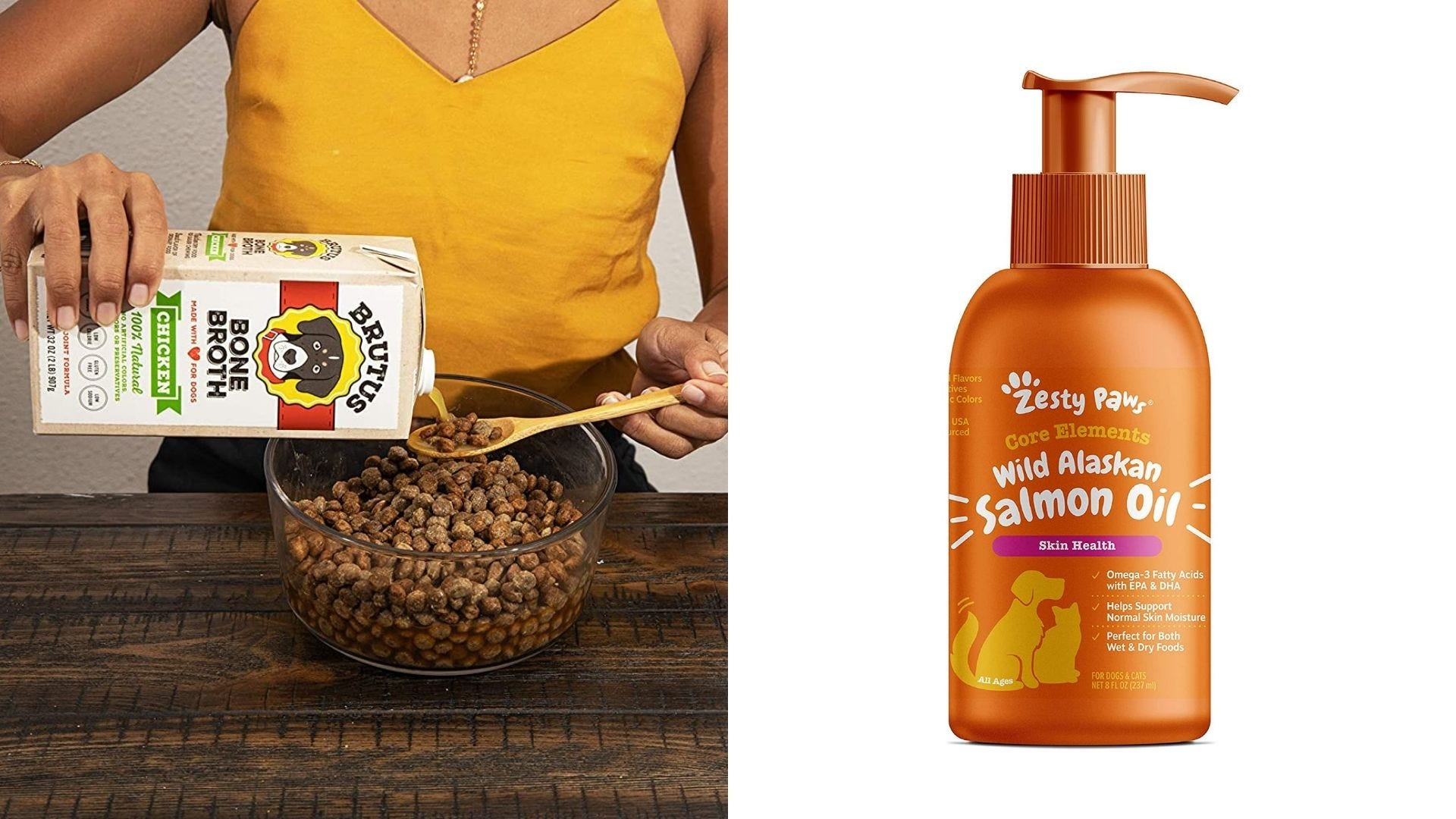 A woman pours bone broth on kibble and an orange bottle of salmon oil