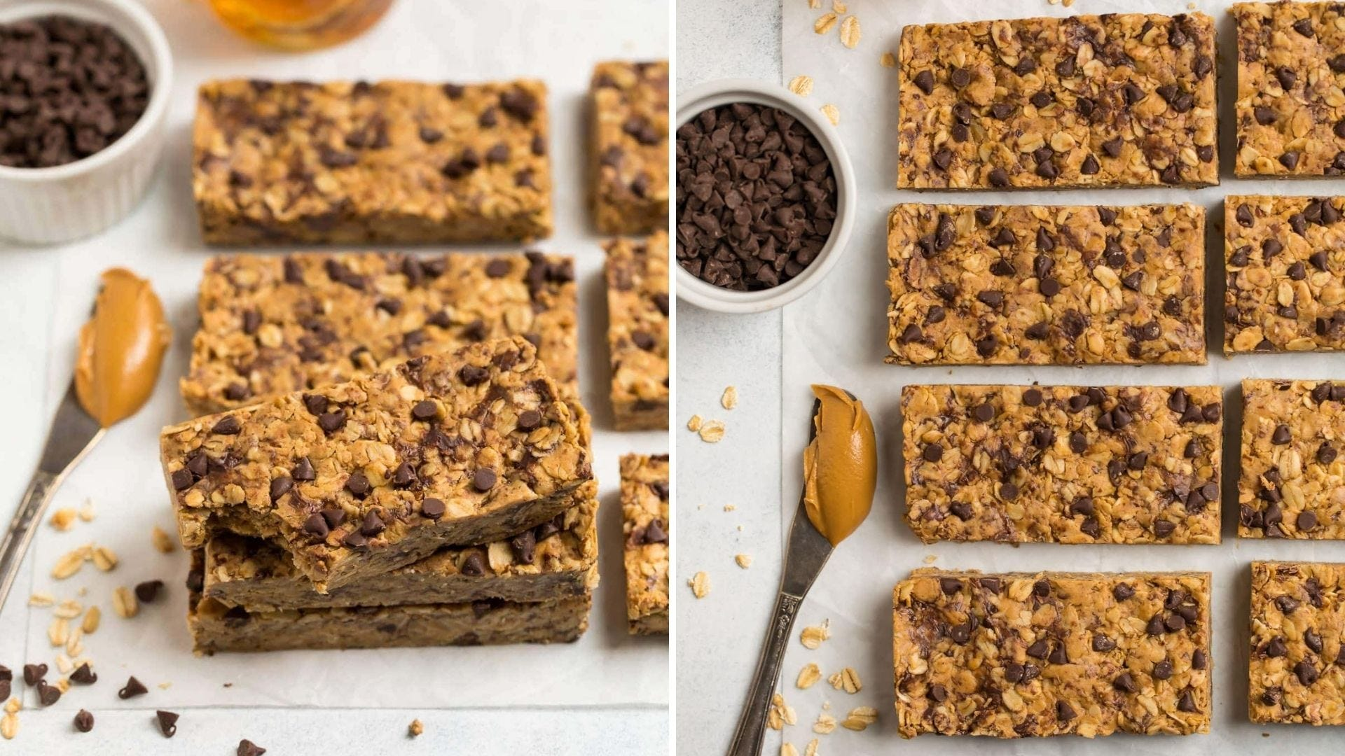 Protein bars made with oats and chocolate chips