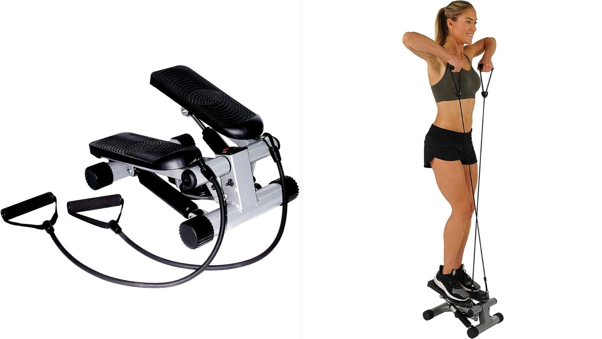 On the left, a compact stair stepper with black pedals, metal base, and resistance bands. On the right, a woman pulls on the resistance bands while standing on the machine.