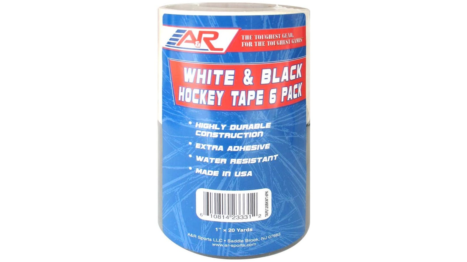 A six pack of black and white hockey tape wrapped in blue and red packaging.