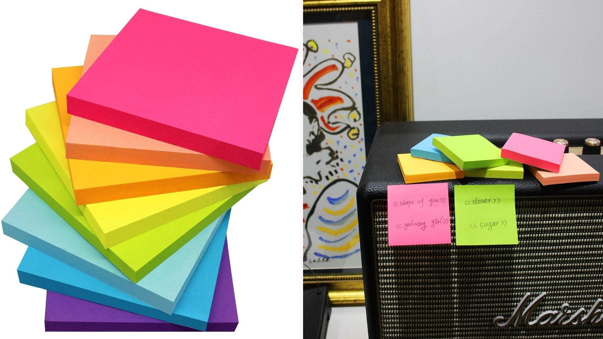 On the left, a multicolor stack of sticky note pads. On the right, two sticky notes with written information are placed on the side of an amplifier.
