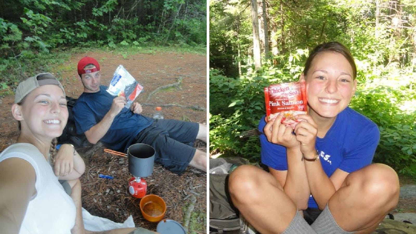 Two images from seperate backpacking trips, cooking with out GSI cookware, and MSR stove and fuel canisters and enjoying lunch along the trail.