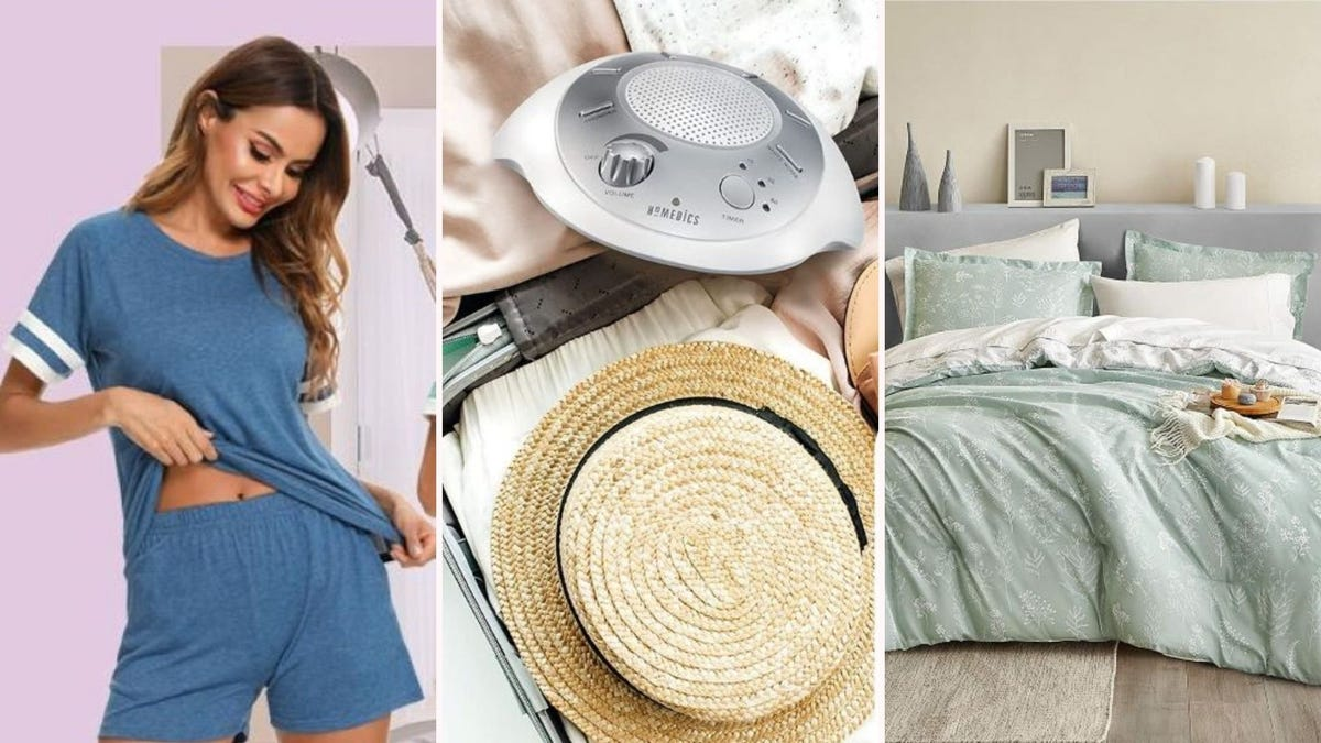 A woman wearing the deep blue LOLLO VITA loungewear set, the HoMedics noise machine in an open suitcase, and the sage green Bedsure queen comforter set on a bed.