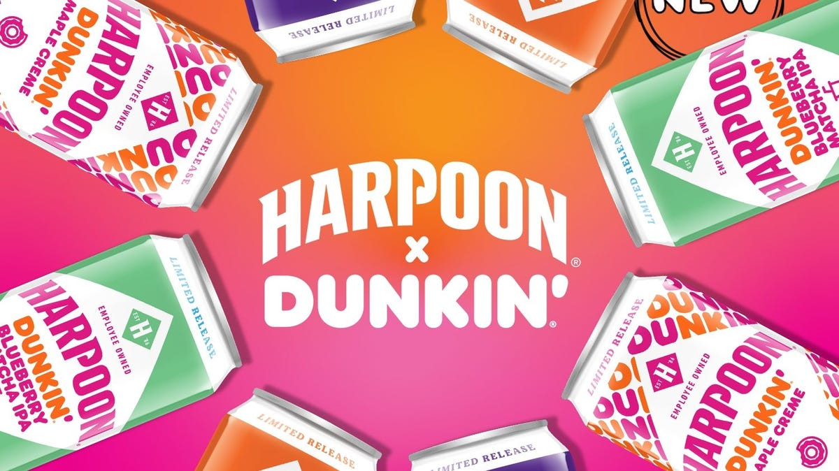 The Harpoon logo and Dunkin logo sit in the center of multiple beer cans.