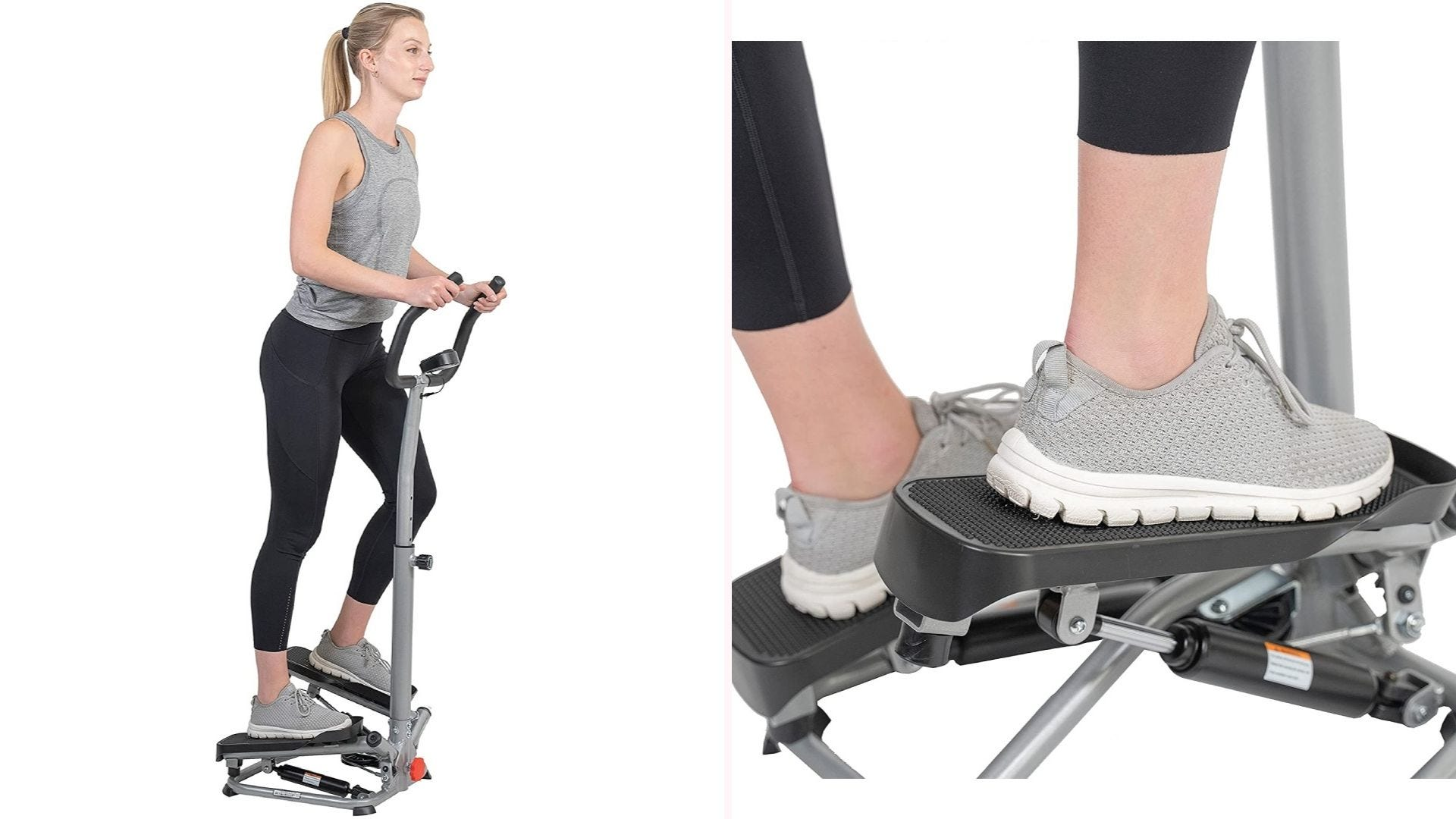On the left, a woman stands on a stair stepper with handles.
