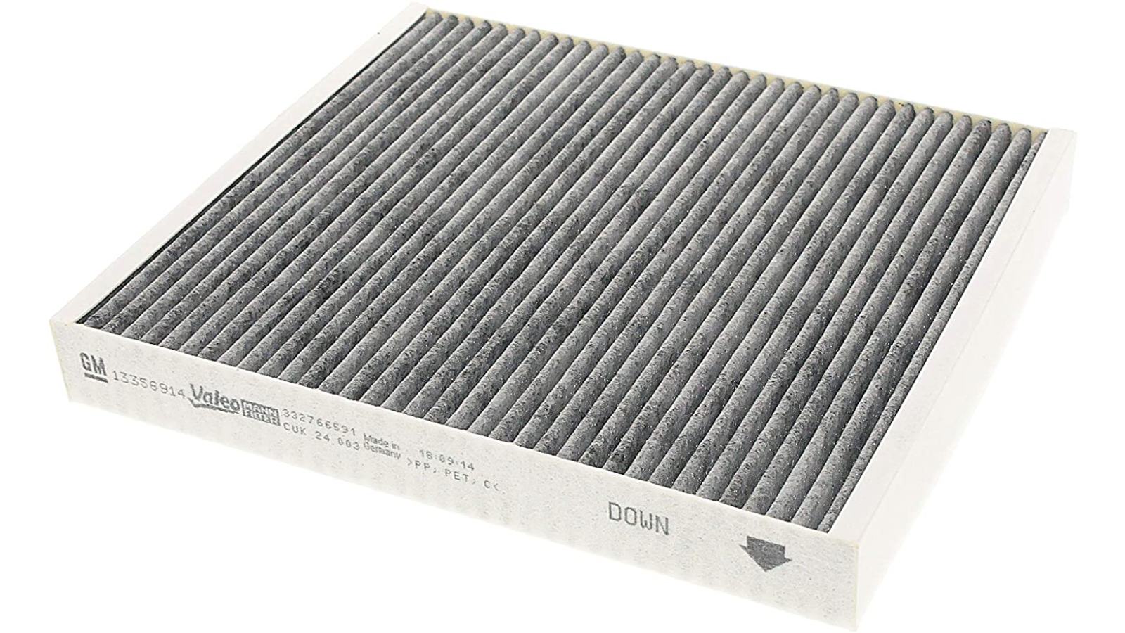 Image of an air filter resting on its side