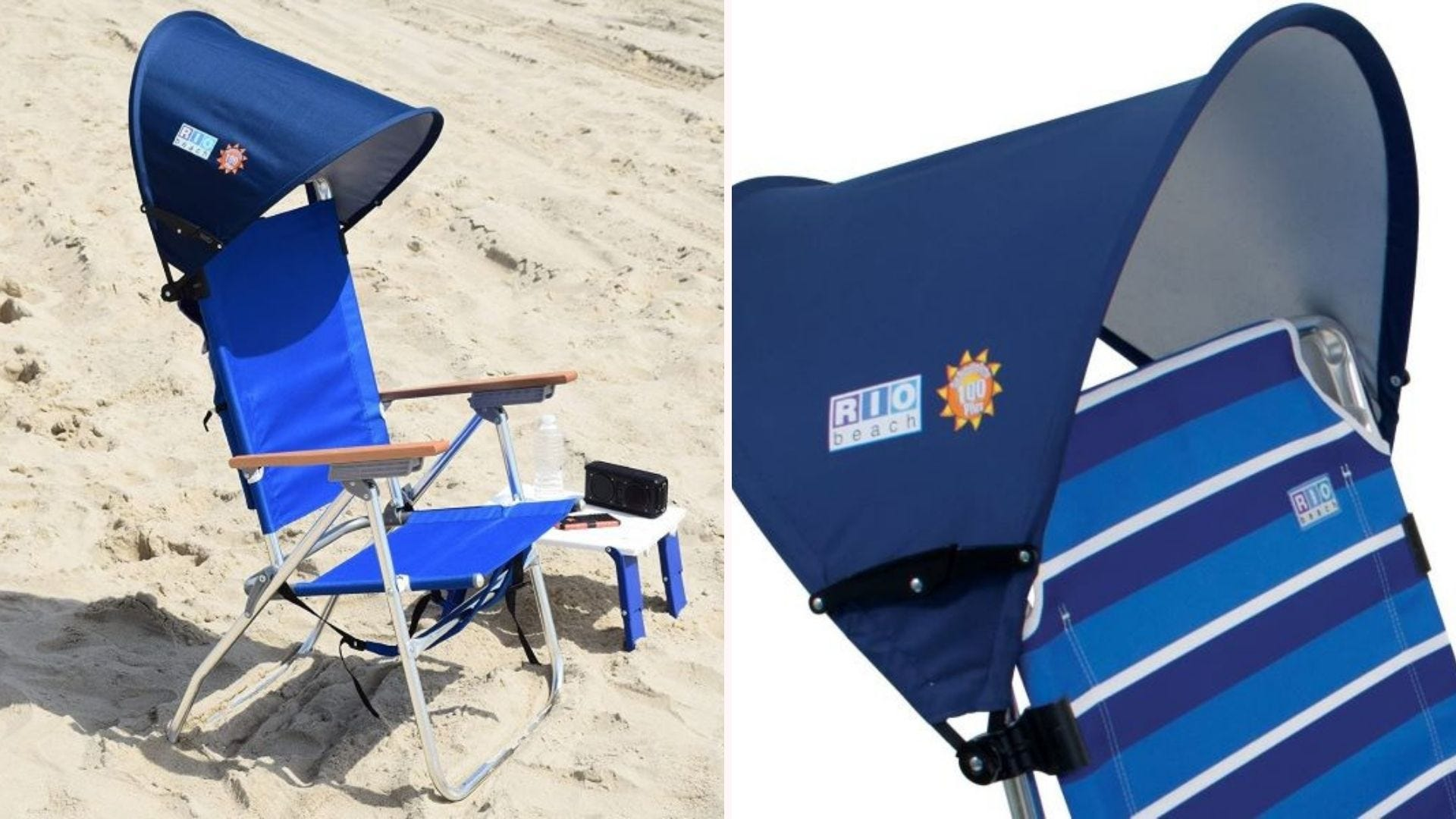 The RIO Beach Sun Shade attached to two different chairs.